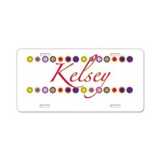 Kelsey with Flowers Aluminum License Plate