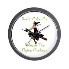 Don't Make Me Release The Flying Monkey Wall Clock