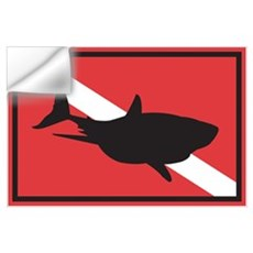 Shark Diving Flag Wall Decal