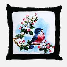 Vintage Bluebird Art Throw Pillow