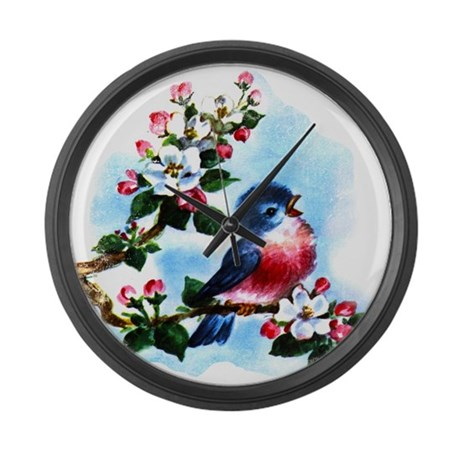 Vintage Bluebird Art Large Wall Clock