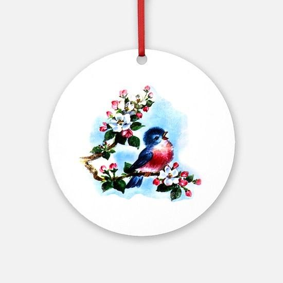 Vintage Bluebird Art Ornament (Round)