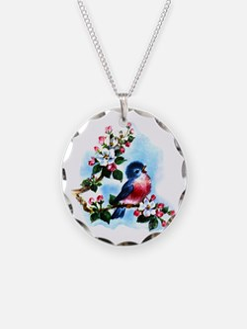 Vintage Bluebird Art Necklace
