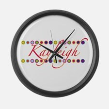 Kayleigh with Flowers Large Wall Clock