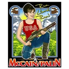 Run Liberal Run - McCain Palin Canvas Art