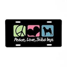 Peace, Love, Shiba Inus Aluminum License Plate
