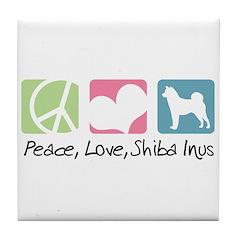 Peace, Love, Shiba Inus Tile Coaster