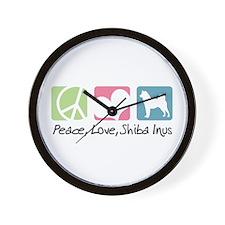 Peace, Love, Shiba Inus Wall Clock