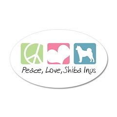 Peace, Love, Shiba Inus 38.5 x 24.5 Oval Wall Peel