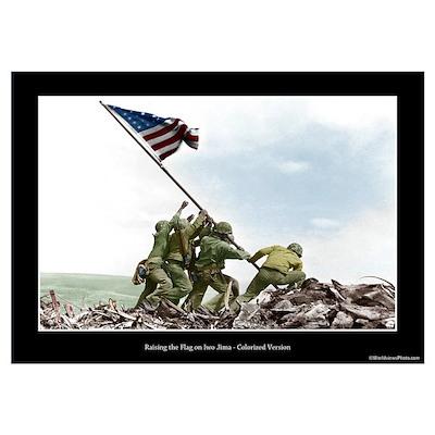 Raising the Flag on Iwo Jima - Colorized (14x10) Poster