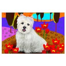 WESTIE DOG LAKE FLOWERS Poster