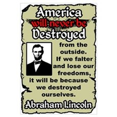 """Lincoln: Destroy Ourselves"" Framed Print"