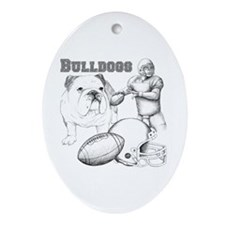 Bulldog Collage Ornament (Oval)