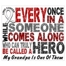 HERO Comes Along 1 Grandpa LUNG CANCER Framed Pane Canvas Art