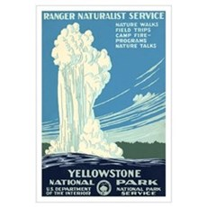 1930s Vintage Yellowstone National Park Large Post Framed Print