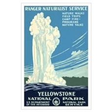 1930s Vintage Yellowstone National Park Large Post Poster