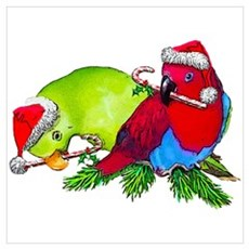 Christmas Parrot Poster