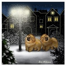 CHOW CHOW DOGS SNOW CITY Canvas Art