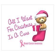 Bear In Stocking 1 (Breast Cancer) Pri Poster