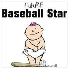 Baseball Star Girl Framed Nursery Print Poster