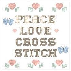 Peace Love Cross Stitch Poster