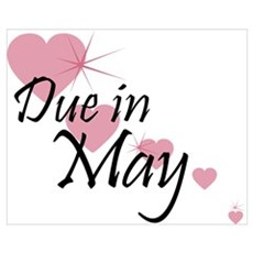 Due In May Cascading Hearts Poster