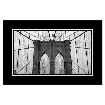 brooklyn bridge b w poster. Black Bedroom Furniture Sets. Home Design Ideas