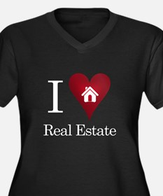 I Heart Real Estate Women's Plus Size V-Neck Dark