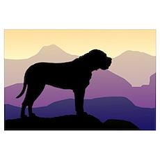 Purple Mountains Bullmastiff Poster