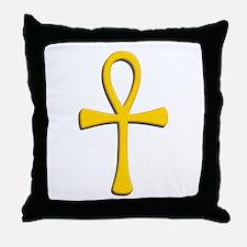 Golden Ankh Throw Pillow