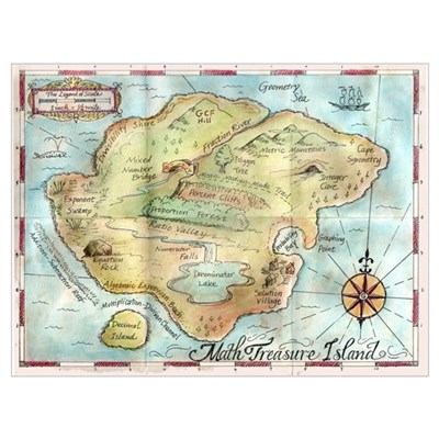 Map of Math Treasure Island Framed Print