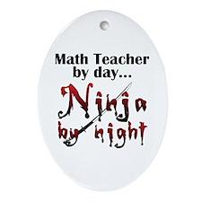Math Teacher Ninja Ornament (Oval)