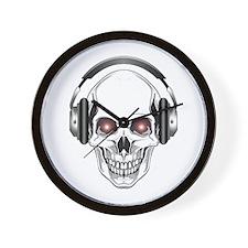 Red Eye DJ Skull Wall Clock