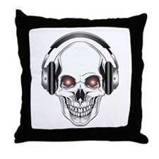 Red Eye DJ Skull Throw Pillow