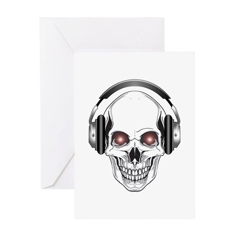 Red Eye DJ Skull Greeting Card