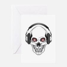 Red Eye DJ Skull Greeting Card