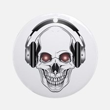 Red Eye DJ Skull Round Ornament