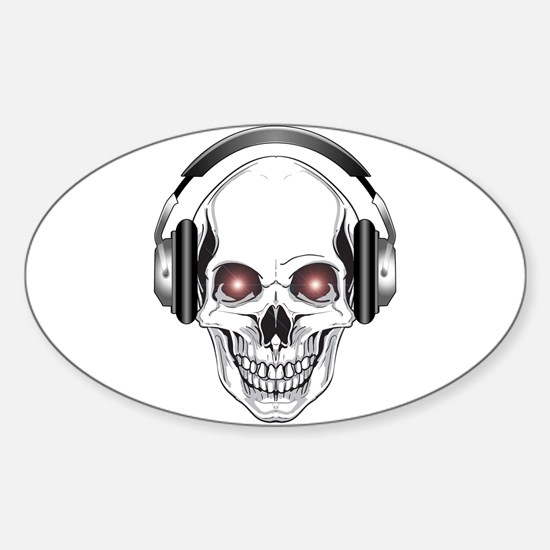 Red Eye DJ Skull Oval Decal