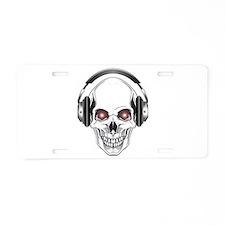 Red Eye DJ Skull Aluminum License Plate