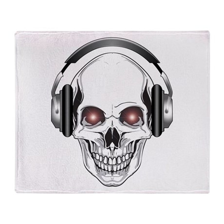 Red Eye DJ Skull Throw Blanket