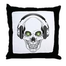 Green Eye DJ Skull Throw Pillow