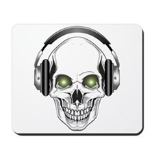 Green Eye DJ Skull Mousepad