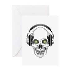 Green Eye DJ Skull Greeting Card