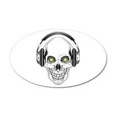 Green Eye DJ Skull 22x14 Oval Wall Peel
