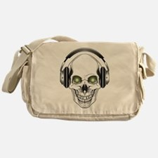 Green Eye DJ Skull Canvas Messenger Bag