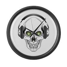 Green Eye DJ Skull Large Wall Clock
