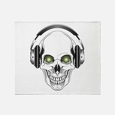 Green Eye DJ Skull Throw Blanket