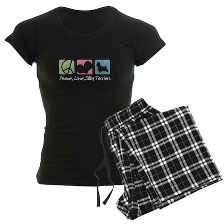 Peace, Love, Silky Terriers Women's Dark Pajamas
