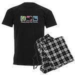 Peace, Love, Skye Terriers Men's Dark Pajamas