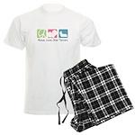 Peace, Love, Skye Terriers Men's Light Pajamas